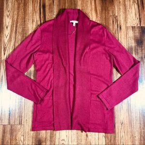 CHAUS open front shawl collar raspberry cardigan M
